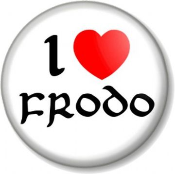 I Love / Heart FRODO Pinback Button Badge The Hobbit Lord Of Rings JRR Tolkein